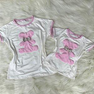 T shirt branca urso rosa Mãe e Filha