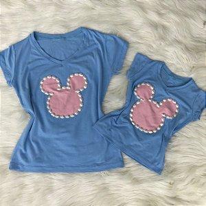 T shirt Azul Mouse Mãe e Filha