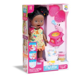 Boneca Negra My Little Collection Come E Faz Caquinha Fralda