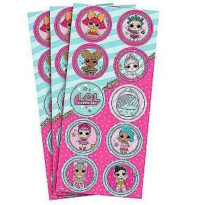 Adesivo Decorativo Redondo Boneca LOL Suprise - 30 Unidades