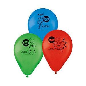 """Balão de Festa PJ Masks 9"""" 25 Unidades"""