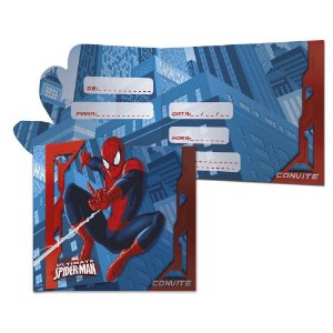Convite Spider Man 8 Unidades