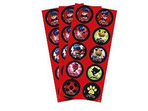 Adesivo Decorativo Redondo Miraculous Ladybug - 30 Unidades
