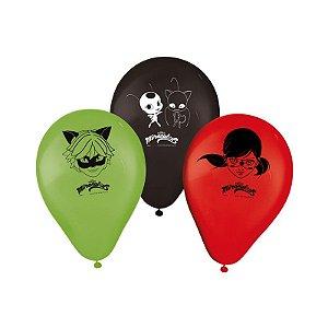 "Balão de Festa Miraculous Ladybug 9"" 25 Unidades"