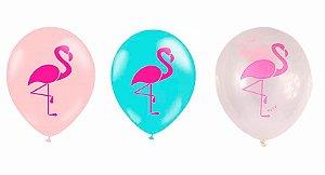 """Balão de Festa Flamingo 11"""" 25 Unidades"""