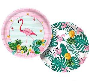Prato Flamingo 18cm 8 Unidades