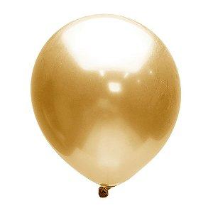 """Balão Alumínio Dourado 9"""" 25 Unidades"""