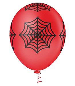 Balão Tema Aranha Vermelho 11 Polegadas 25 Unidades