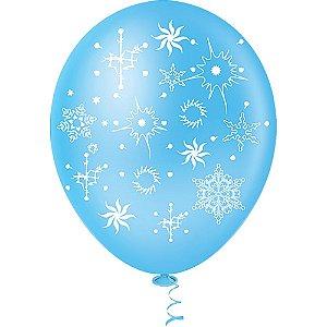 Balão Tema Flocos de Neve Azul 25 Unidades