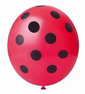 Balão Tema Confete Vermelho e Preto 25 Unidades