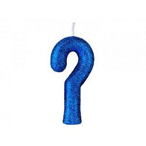 Vela Interrogação Cintilante Azul Regina - 1 Unidade