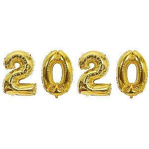 Kit Balão Metalizado 2020 Dourado 40cm