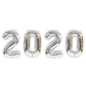 Kit Balão Metalizado 2020 Prata 70cm