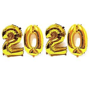 Kit Balão Metalizado 2020 Dourado 1 Metro