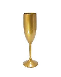 Taça de Champanhe Acrílico Ouro - 1 Unidade
