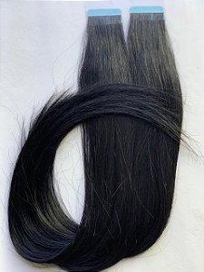 Mega hair fita adesiva #1 - 20 fitas - 50cm cabelo humano