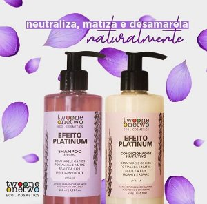452- Kit Efeito Platinum Natural Vegano  Violet Flowers Twoone Onetwo 250ml
