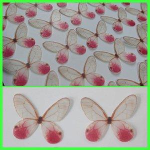 Borboleta Branca com Rosa Mod 1( Kit com 10 Un)