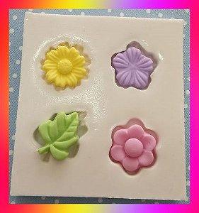 Molde silicone Flores e folha Diversos (pequeno) Detalhes