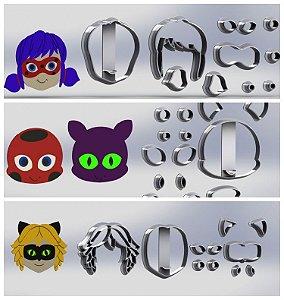 Cortador Kit Ladybug Cat Noir e amigos Modulares