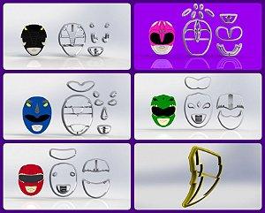 Cortador Kit Power Rangers - 5 Personagens + Raio
