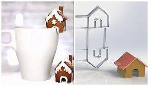 Cortador Casinha Casa 3d para xícara  4 x 4