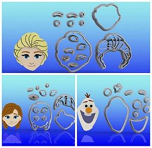 Cortador Kit Frozen - Ana e Elsa Olaf Modulares