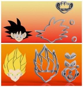 Cortador Kit Dragon Ball 2 modelos modulares - Saiajin e Goku
