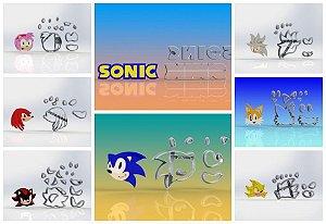 Cortador Kit Sonic e Amigos mais Logo  - 8 Modelos Modulares