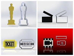Cortador Kit Cinema - 4 Modelos ( Oscar, camera. ticket, claquete)