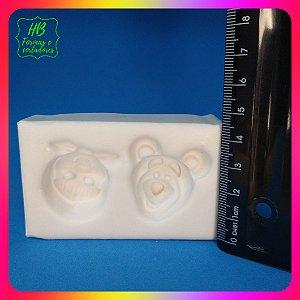 Molde silicone Masha e Urso (rostos)