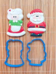 Cortador Natal Casal Mamãe e Papai Noel