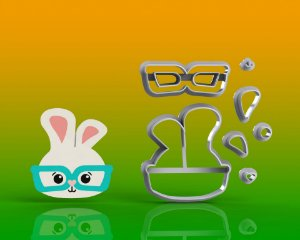 Cortador Páscoa - Coelho de Óculos Modular