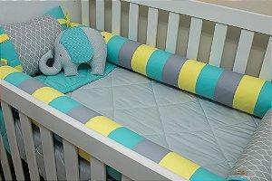 Kit Protetor de Berço - Cinza Estampado, Tiffany, Cinza e Amarelo