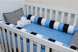 Kit Protetor de Berço - Chevron Azul Marinho, Branco e Azul liso