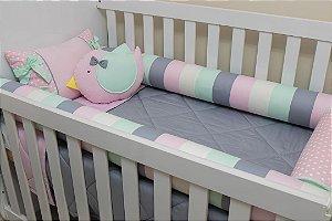 Kit Protetor de Berço - Rosa Bebê, Bolão Rosa Bebê, Cinza, Verde-Água e Branco