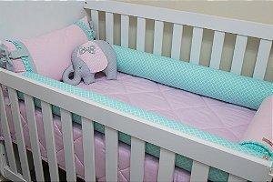 Kit Protetor de Berço - Rosa Bebê, Tiffany Estampado e Cinza