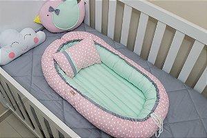 Ninho Redutor de Berço - Rosa Bebê Bolão, Verde-Água e Cinza
