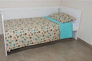 Edredom dupla-face para cama Solteiro - Estampa Bichinhos da Floresta Bege e Tiffany