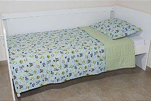 Edredom dupla-face para cama Solteiro - Estampa Bichinhos da Floresta Azul e Verde