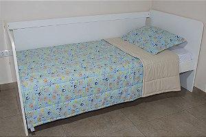 Edredom dupla-face para cama Solteiro - Estampa Safári Azul e Bege