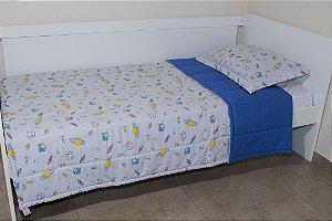 Edredom dupla-face para cama Solteiro - Estampa Planetas Cinza e Azul