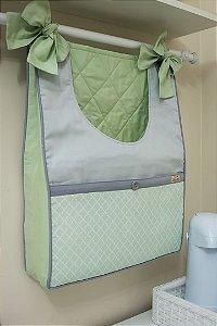 Bolsão Porta-Fraldas - Verde-água estampado, Cinza Claro e Verde-água liso