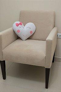Almofadinha Coração - Branca Estampada com Corações Rosa e Cinza