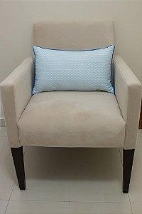 Almofada de Encosto para Poltrona de Amamentação - Estampa Triângulos Branco e Azul