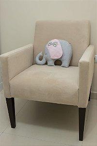 Almofadinha Elefantinha - Cinza e Mini-Chevron Rosa