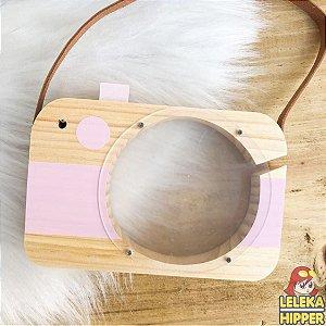 Cofre máquina fotográfica em madeira