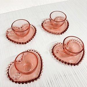 Jogo de xícaras para chá Pearl Coração rosa