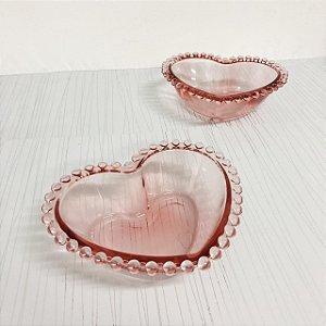 Jogo de tigelas decorativas coração Pearl rosa G com 2