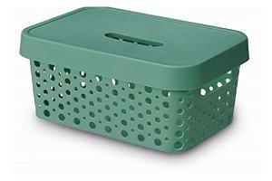 Caixa Organizadora rattan 4,5L com tampa verde